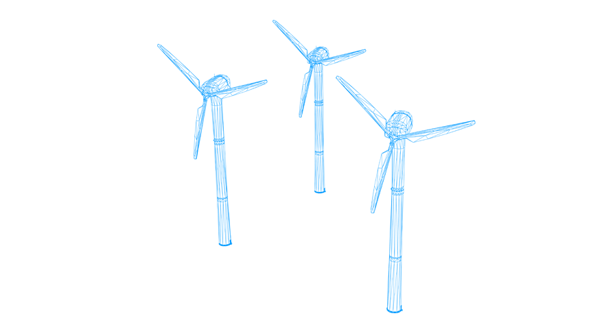 Illustration of a wind power plant.