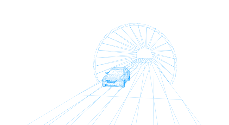 Illustration of a car in a tunnel.
