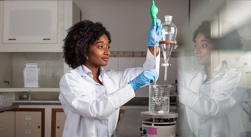 Nadia Ayad in laboratory