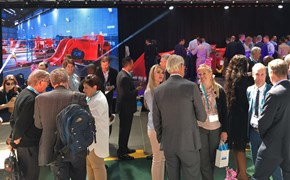People in an exhibition area.