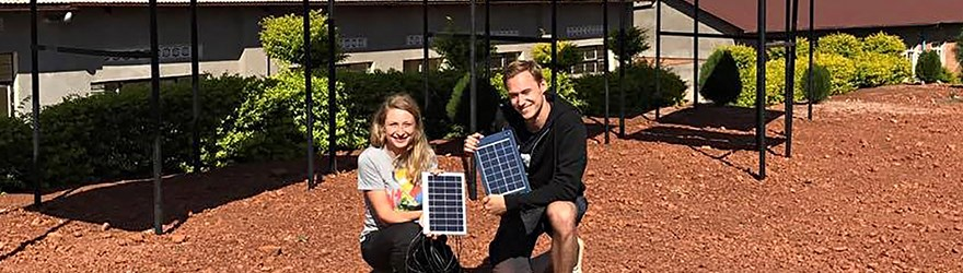 Sara Svensson and Rasmus Lundvik from Engineers Without Borders at the The Institute of Technology at Linköping University, Sweden, are upgrading the power system at a girls' school in Chonyonyo, Tanzania.